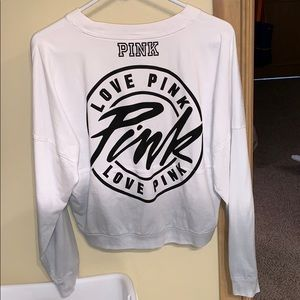 PINK Victoria's Secret Tops - white and grey ombré crop pullover